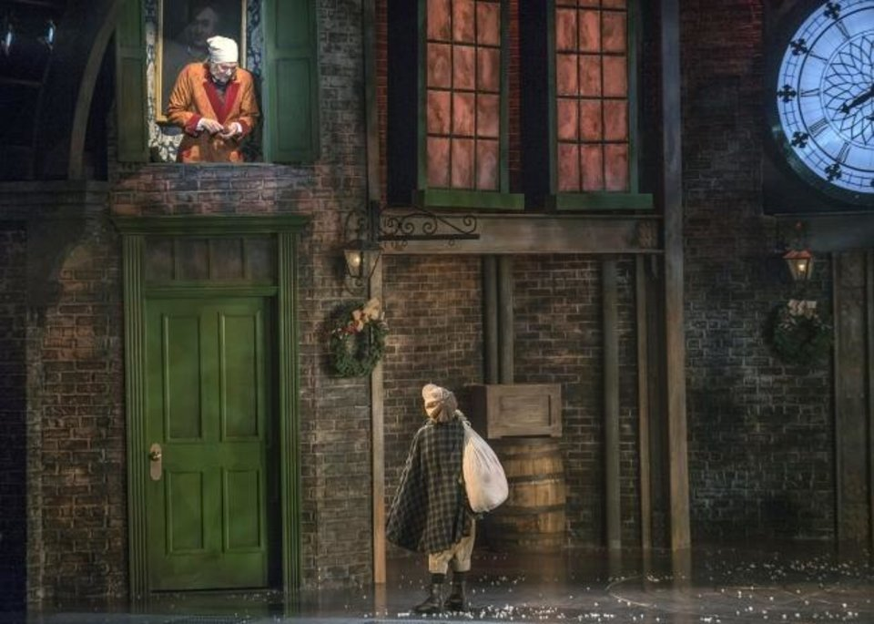 Photo -  Dirk Lumbard, left, will return as Ebenezer Scrooge in Lyric Theatre's 2019 production