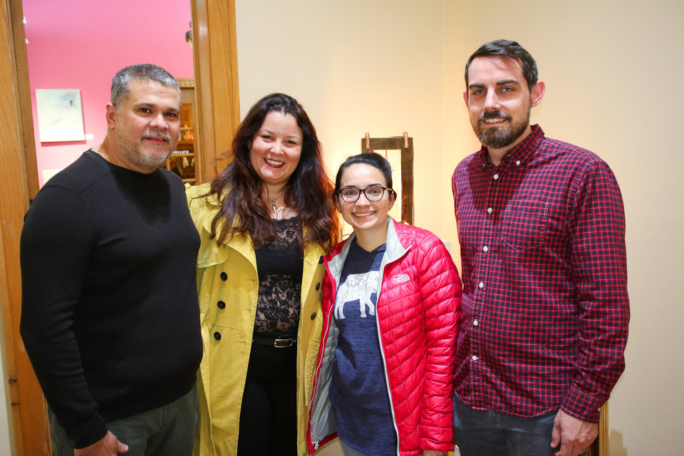Photo - Juan Brito, Beatriz Mayorca, Romina Navarro and David Rowden during Paseo First Friday at JRB Art at the Elms Friday, November 3, 2017. Photo by Doug Hoke