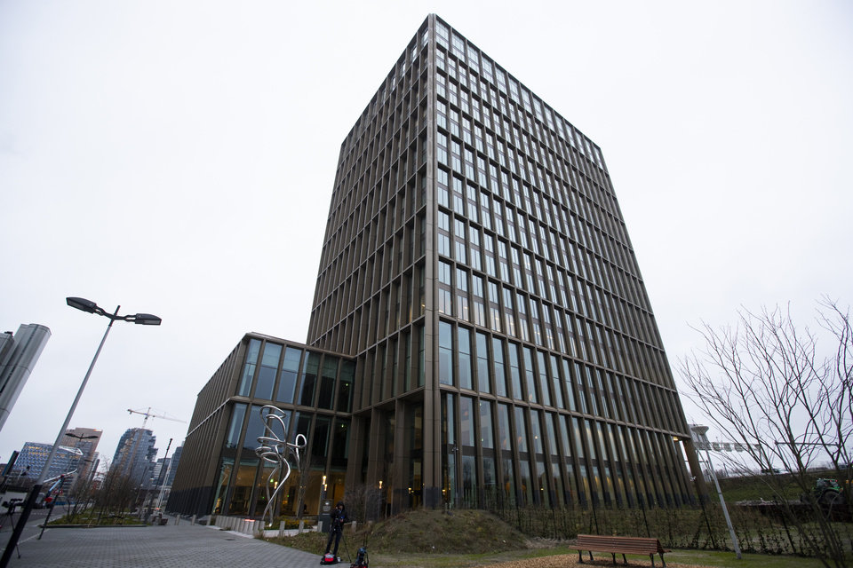 Photo -  Exterior view of the European Medicines Agency in Amsterdam, Netherlands, Monday, Dec. 21, 2020, where the EMA's human medicines committee is holding an exceptional, fully virtual, meeting to conclude the evaluation of the Pfizer-BioNTech COVID-19 vaccine. (AP Photo/Peter Dejong)