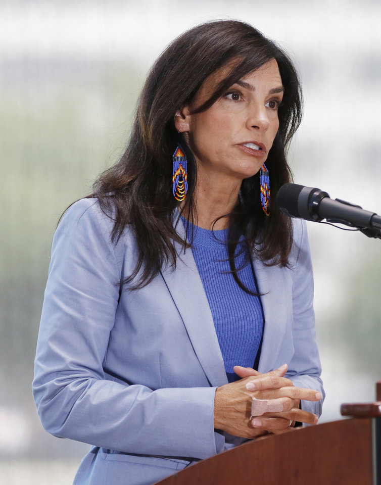 Photo - Lisa Johnson Billy, Oklahoma secretary of native affairs speaks at the Oklahoma Tribal Finance Consortium, alongside tribal leaders, release the results of a study gauging the economic impact of the tribes on the state, Thursday, July 18, 2019. [Doug Hoke/The Oklahoman]