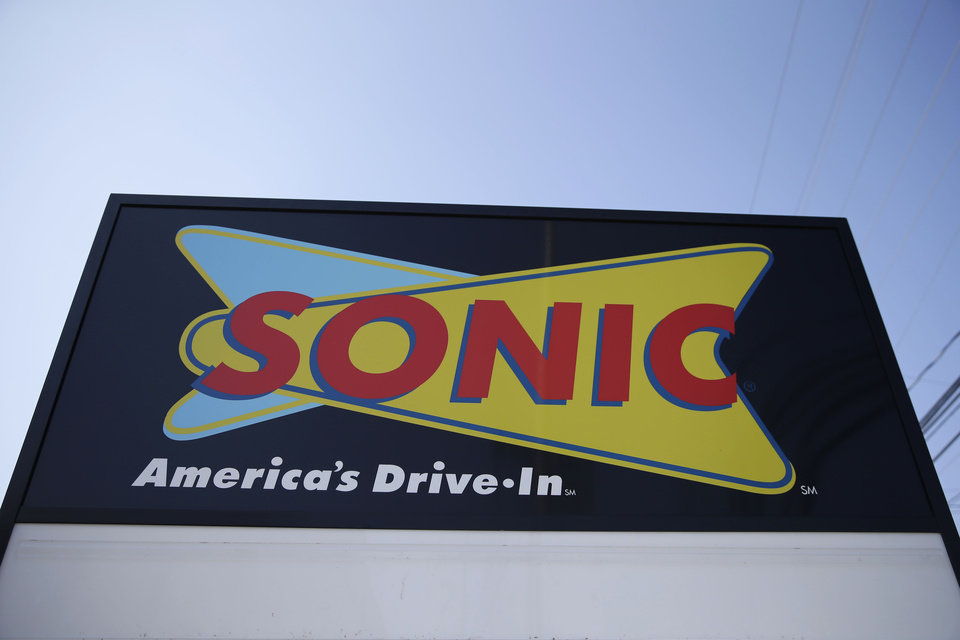 Photo - FILE- This March 9, 2015, file photo shows a sign for a Sonic Drive-In in Holmes, Pa. Arby's owner Inspire Brands is buying the Sonic drive-in hamburger chain. Inspire said Tuesday, Sept. 25, 2018, owning multiple chains will help it share resources, including customer loyalty data and suppliers. (AP Photo/Matt Rourke, File)