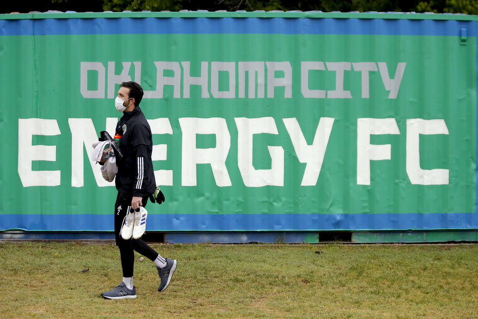 Photo - CJ Cochran with OKC Energy FC arrives for soccer practice in Oklahoma City, Wednesday, May 13, 2020. [Bryan Terry/The Oklahoman]