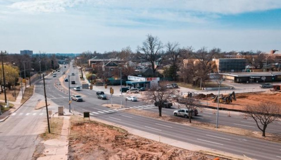 Photo -  Drone image of NW 16th and Classen intersection.