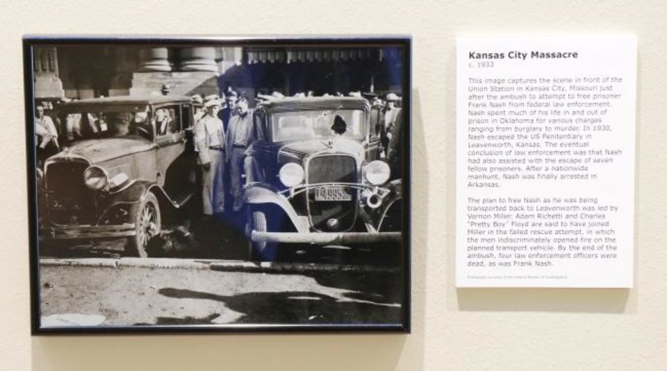 Photo -  A photo of the Kansas City Massacre, is featured in the Oklahoma History Center's exhibit