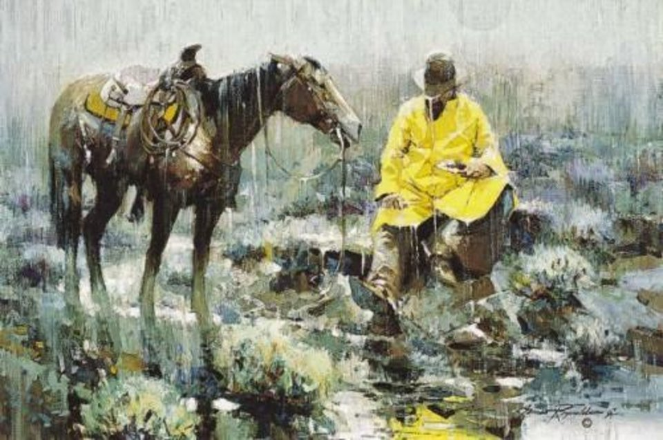 Photo -  A reproduction of the National Cowboy & Western Heritage Museum's popular painting