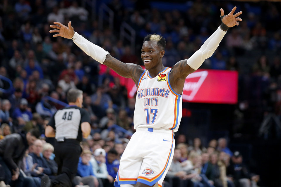 Photo - Oklahoma City's Dennis Schroder (17) celebrates after an Oklahoma City basket during an NBA basketball game between the Oklahoma City Thunder and the Memphis Grizzlies at Chesapeake Energy Arena in Oklahoma City, Wednesday, Dec. 18, 2019. Oklahoma City won 126-122. [Bryan Terry/The Oklahoman]
