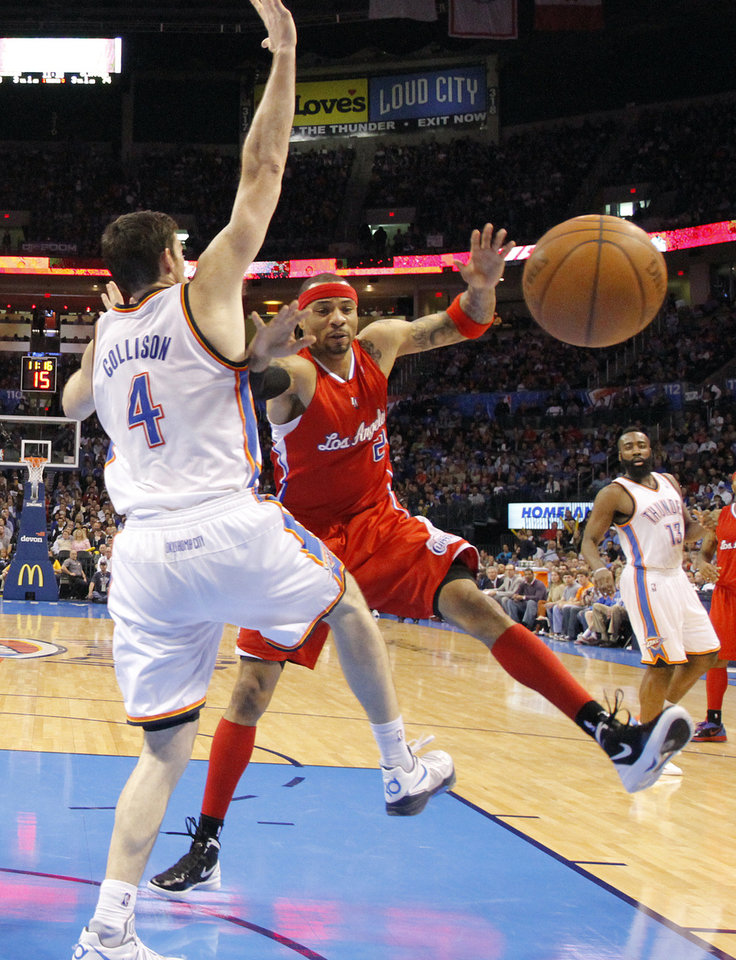 Photo - Oklahoma City Thunder power forward Nick Collison (4) defends on Los Angeles Clippers power forward Kenyon Martin (2) during the NBA basketball game between the Oklahoma City Thunder and the Los Angeles Clippers at Chesapeake Energy Arena on Wednesday, March 21, 2012 in Oklahoma City, Okla.  Photo by Chris Landsberger, The Oklahoman