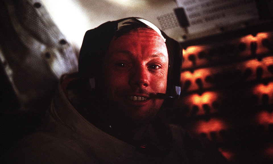 Photo - This photograph of Apollo 11 Commander Neil Armstrong was taken inside the Lunar Module while on the lunar surface. [NASA]