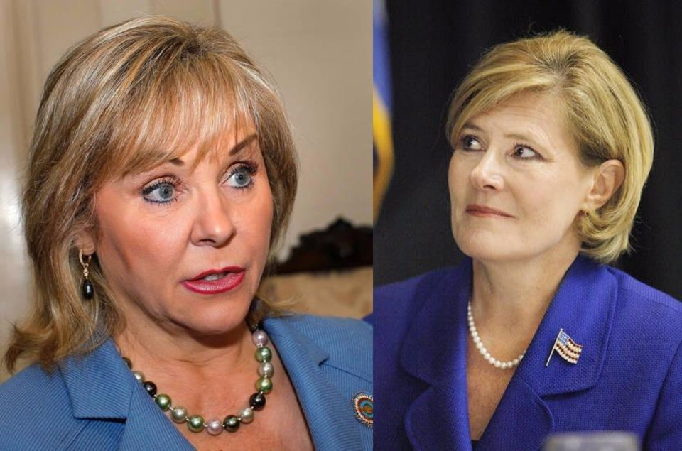 Photo - FILE - This side-by-side image shows Oklahoma Gov. Mary Fallin (left) and Patrice Douglas.