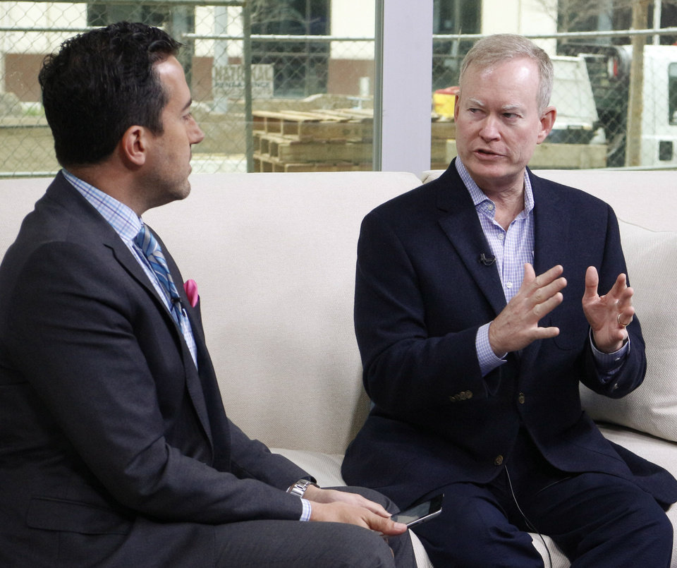 Photo - Mayor Mick Cornett is interviewed by David Morris on his movie about, Oklahoma City Friday April 3, 2015. Photo by Doug Hoke, The Oklahoman.