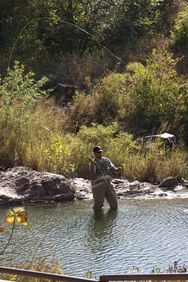 Medicine park a popular winter trout fishing destination for Trout fishing in oklahoma