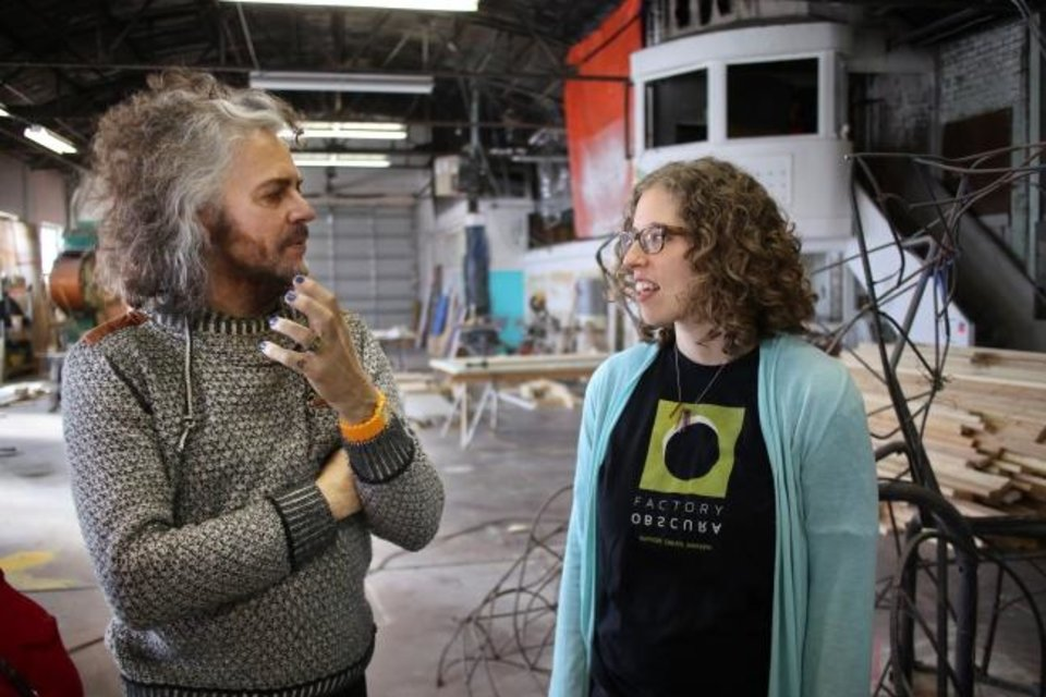 Photo -  Wayne Coyne, of the Flaming Lips, and Kelsey Karper, of the art collective Factory Obscura, talk about Factory Obscura's