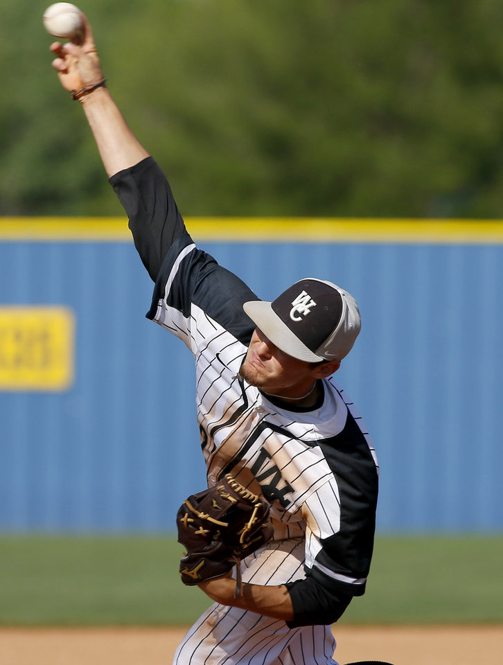 Photo - Wright City's Conner Bastarache pitches against Rattan during the Class A baseball championship game between Wright City and Rattan at Dolese Park in Oklahoma City,  Saturday, May 4, 2019. [Bryan Terry/The Oklahoman]
