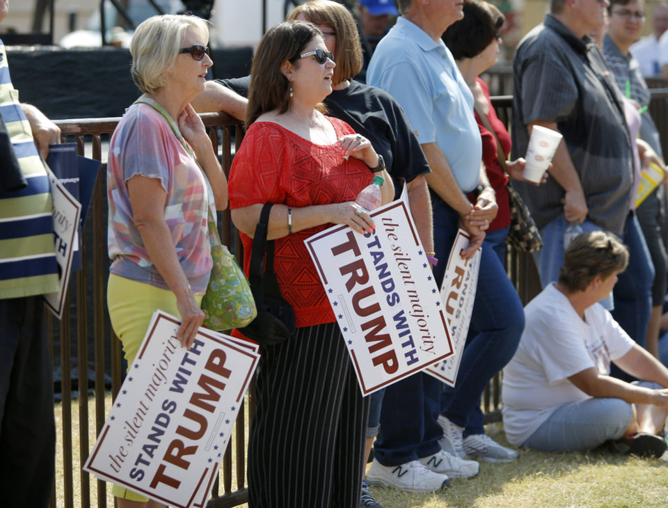 Photo - Donald Trump supporters wait for Donald Trump's arrival before a rally at the Oklahoma State Fair in Oklahoma City, Friday, September 25, 2015. Photo by Bryan Terry, The Oklahoman