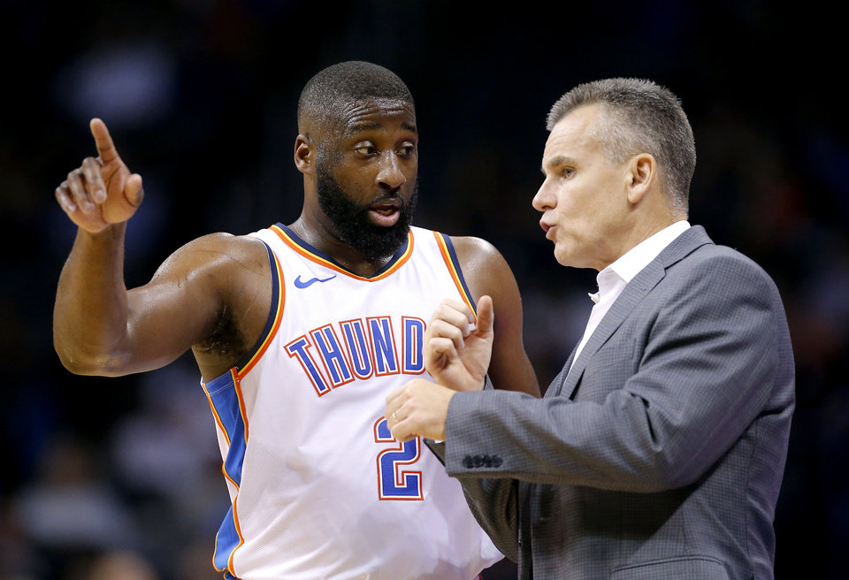 Photo - Oklahoma City's Raymond Felton (2) talks with head coach Billy Donovan  during a NBA preseason game between the Oklahoma City Thunder and Milwaukee Bucks at Chesapeake Energy Arena in Oklahoma City,  Tuesday, Oct. 9, 2018. Iowa State won 48-42. Photo by Sarah Phipps, The Oklahoman