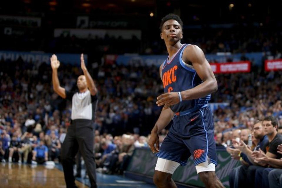 Photo -  Thunder guard Hamidou Diallo won the NBA dunk contest in February, but the rookie saw limited playing time down the stretch as he battled injury. [Bryan Terry/The Oklahoman]