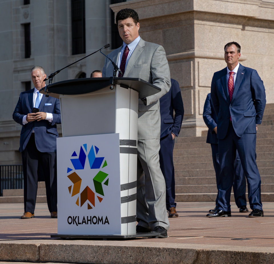 Photo - Skydweller Aero CEO, Dr. Robert Miller speaks during a press conference to announce that his aerospace company Skydweller Aero will establishing its headquarters in Oklahoma at the Oklahoma State Capitol on Tuesday, June 30, 2020, in Oklahoma City, Okla. [Chris Landsberger/The Oklahoman]