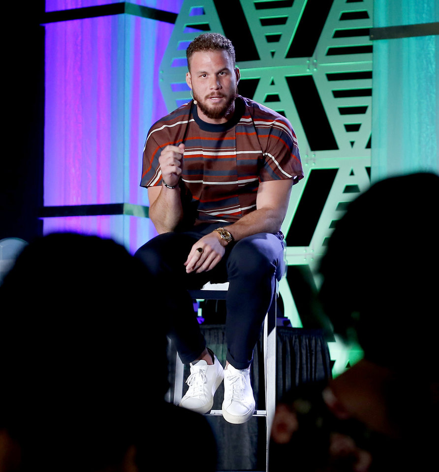 Photo - Blake Griffin answers questions from the audience during The Oklahoman's Best of Preps All-City Sports Awards in Oklahoma City, Monday, June 3, 2019. [Bryan Terry/The Oklahoman]
