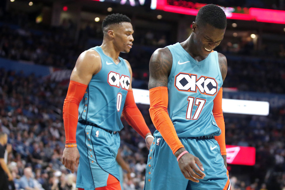 Photo - Oklahoma City's Dennis Schroder (17) grimaces as he walks off the court during an NBA basketball game between the Oklahoma City Thunder and the Washington Wizards at Chesapeake Energy Arena in Oklahoma City, Sunday, Jan. 6, 2019. Photo by Bryan Terry, The Oklahoman
