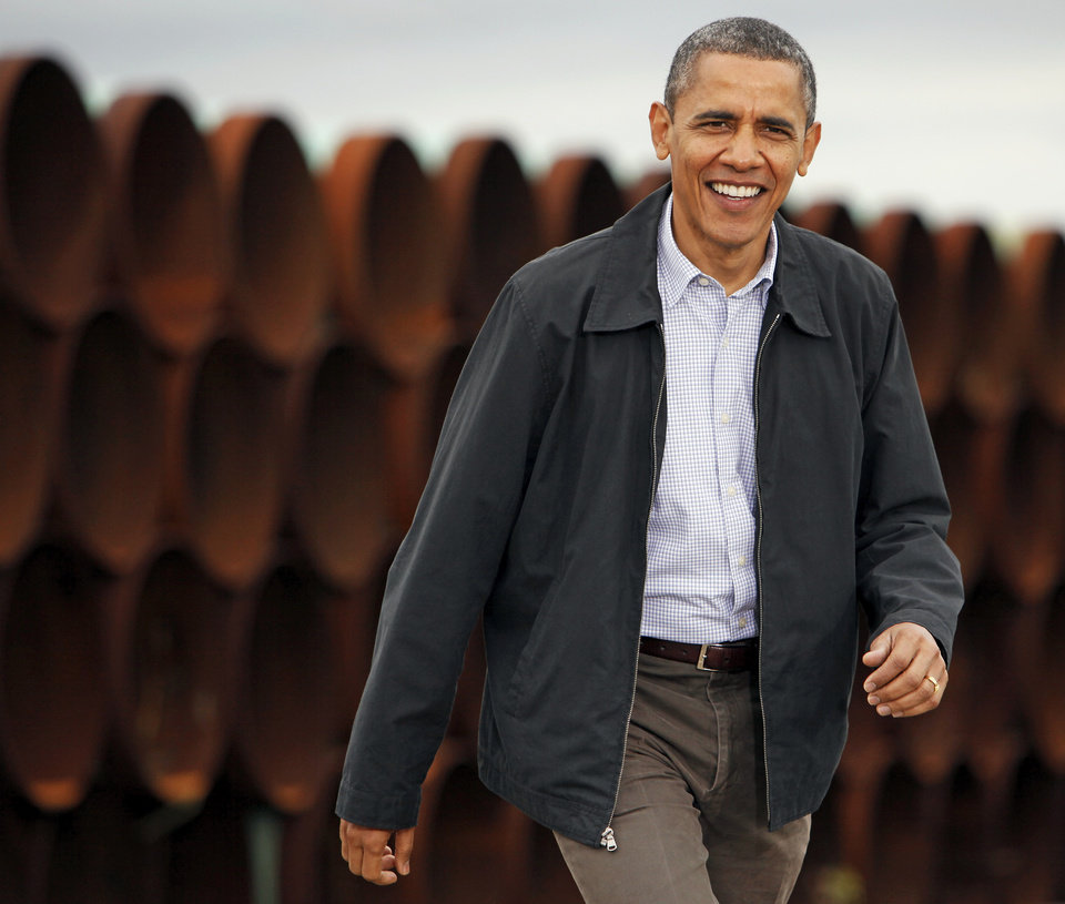 Photo - President Barack Obama arrives at the TransCanada Pipe Yard near Cushing, Okla., Thursday, March 22, 2012. Photo by Nate Billings, The Oklahoman