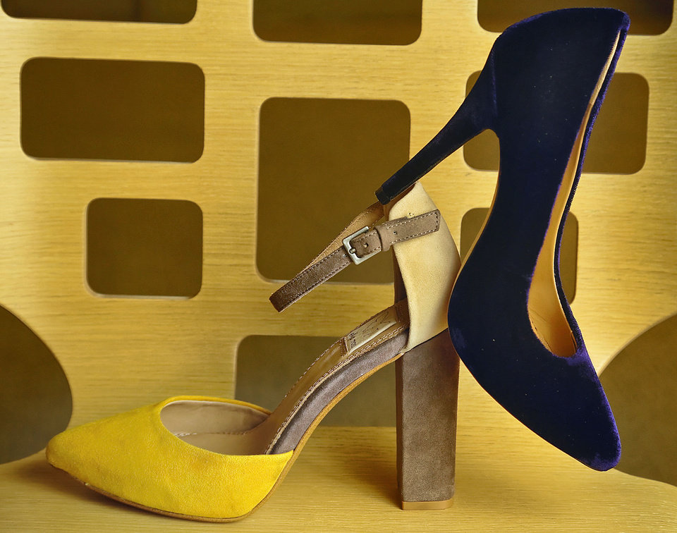 Photo - Ella Moss color-blocked suede heel and Kathryn Amberleigh navy velvet pump from Heirloom Shoe. Photo by Chris Landsberger, The Oklahoman  CHRIS LANDSBERGER