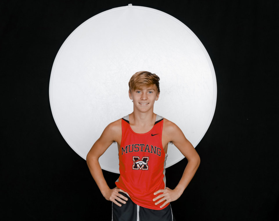 Photo - Mustang's Gabe Simonsen poses for a photo during The Oklahoman's Fall Sports Media Day at Bishop McGuinness High School in Oklahoma City on Aug. 14, 2019. [Doug Hoke/The Oklahoman]