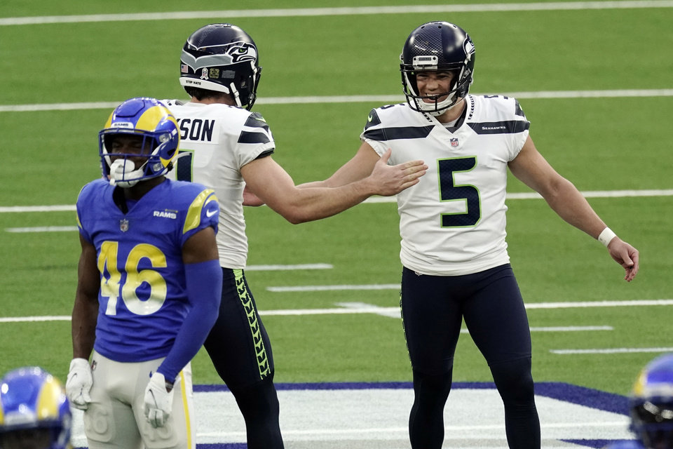 Photo - Seattle Seahawks kicker Jason Myers (5) celebrates after making a 61-yard field goal during the second half of an NFL football game against the Los Angeles Rams, Sunday, Nov. 15, 2020, in Inglewood, Calif. (AP Photo/Jae C. Hong)