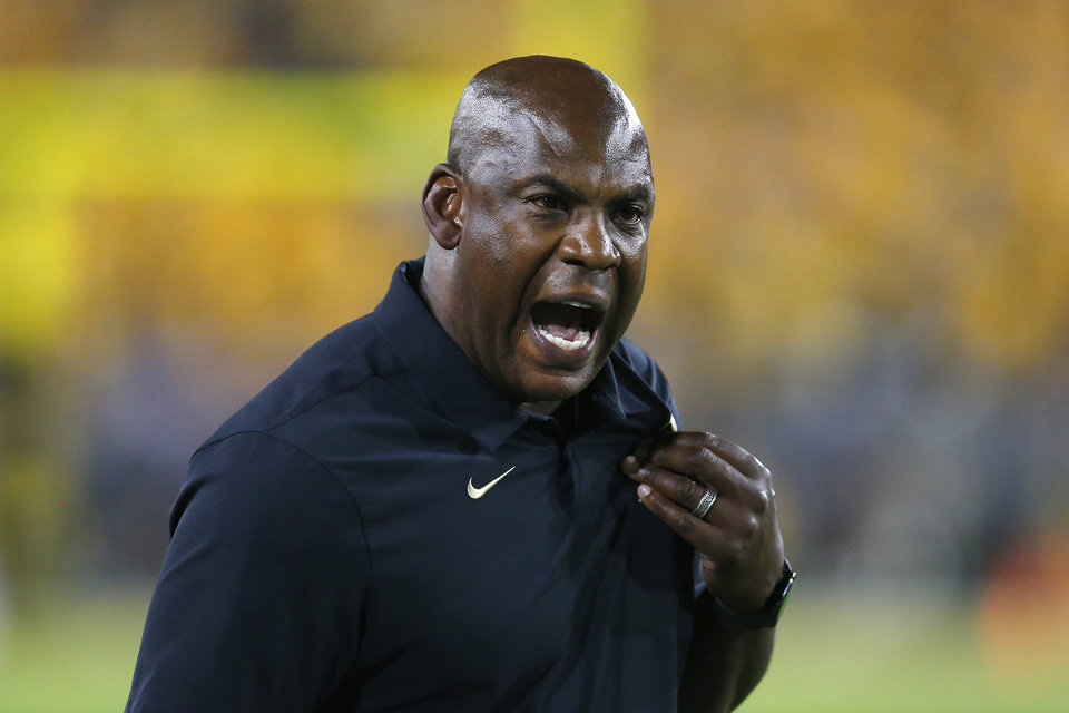 Photo - FILE - In this Sept. 21, 2019, file photo, Colorado head coach Mel Tucker reacts to a holding call in the second half during an NCAA college football game against Arizona State, in Tempe, Ariz. A person familiar with the decision says Colorado coach Mel Tucker has agreed to lead Michigan State's football program. The person spoke Wednesday morning, Feb. 12, 2020, to The Associated Press on condition of anonymity because the hiring had not been announced. (AP Photo/Rick Scuteri, File)