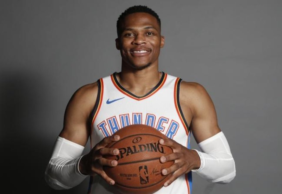 Photo -  Oklahoma City Thunder guard Russell Westbrook during an NBA basketball media day in Oklahoma City, Monday, Sept. 24, 2018. (AP Photo/Sue Ogrocki)