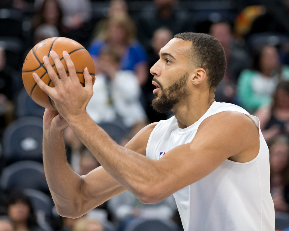 Photo - Feb 26, 2020; Salt Lake City, Utah, USA; Utah Jazz center Rudy Gobert (27) warms up prior to a game against the Boston Celtics at Vivint Smart Home Arena. Mandatory Credit: Russell Isabella-USA TODAY Sports