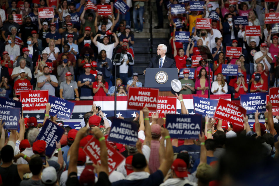 Photo - President Mike Pence speaks before the President Donald Trump rally at the BOK Center in Tulsa, Okla., Saturday, June 20, 2020. [Sarah Phipps/The Oklahoman]