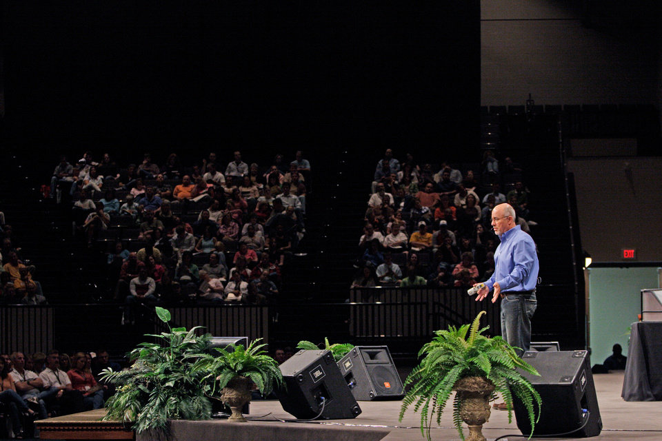 Photo - Dave Ramsey speaks at a business seminar. Photos provided