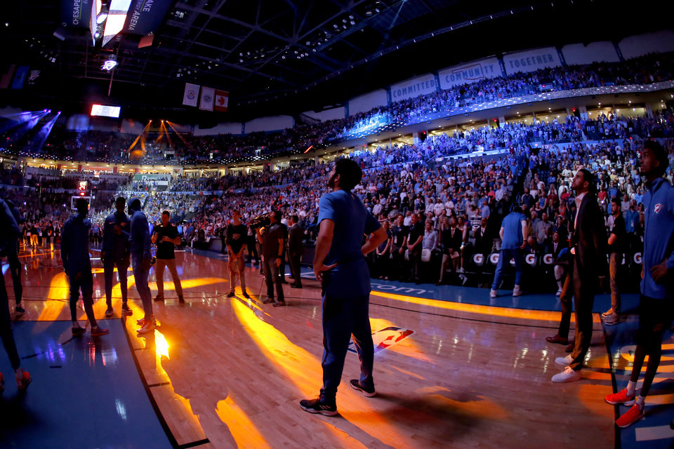 Photo - Oklahoma City's Alex Abrines (8) watches a video before an NBA basketball game between the Oklahoma City Thunder and the Sacramento Kings at Chesapeake Energy Arena in Oklahoma City, Sunday, Oct. 21, 2018. Photo by Bryan Terry, The Oklahoman
