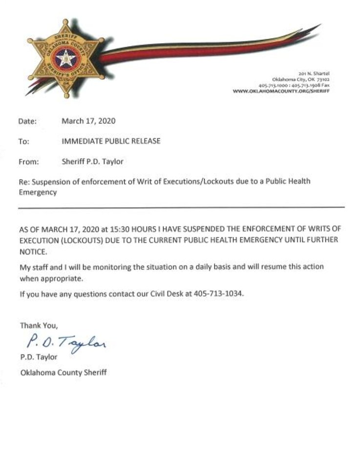Photo -  A screenshot of an announcement posted to the Oklahoma County Sheriff's Office Twitter page.