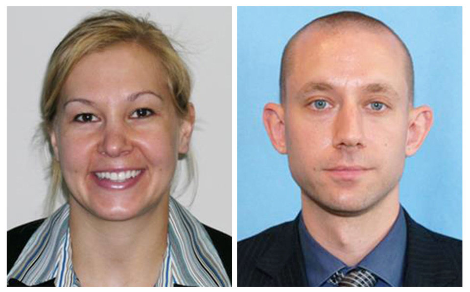 Photo -  These photo released by the FBI show agents Laura Schwartzenberger, left, and FBI agent Daniel Alfin. The two were fatally shot Tuesday while serving a search warrant at the home of child pornography suspect David Huber, a 55-year-old computer technician in Sunrise, Fla. Three other agents were wounded. [FBi via the associated press]