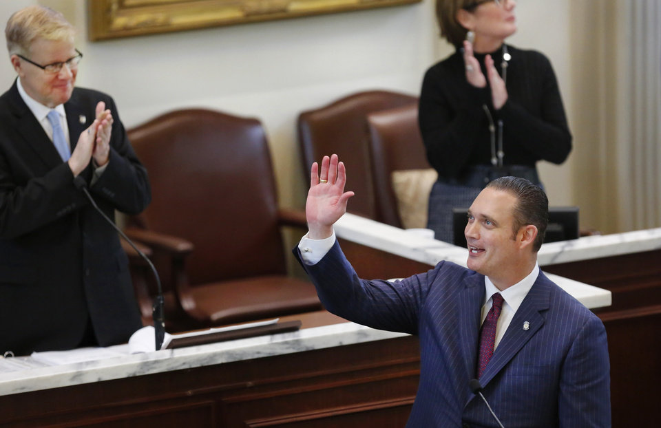 Photo -  Oklahoma House Speaker Charles McCall, R-Atoka, waves to friends and supporters in the gallery before addressing lawmakers after being elected to the top post in the House by his legislative colleagues. State representatives meet for an organizational day in the House chamber on Tuesday, Jan. 3, 2017. Initial discussion focused on the resignation/non-resignation of Rep. Dan Kirby, Tulsa, who has been accused of sexual harassment with a former staff member. [Photo by Jim Beckel, The Oklahoman]