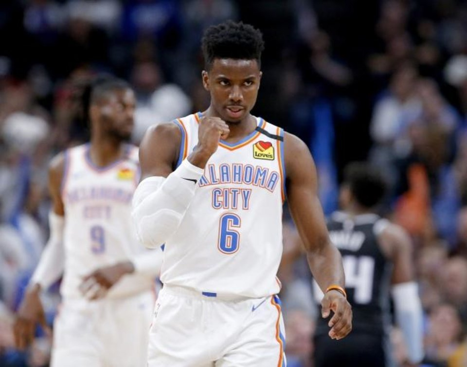 Photo -  Hamidou Diallo (6) scored 16 points on 7-of-9 shooting in the Thunder's 131-120 scrimmage win against the Trail Blazers on Tuesday. [Sarah Phipps/The Oklahoman]