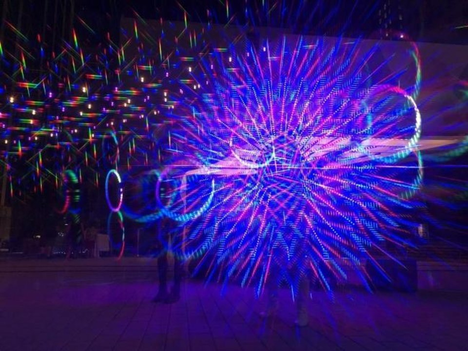 Photo -  Factory Obscura's Downtown Starlight lights up Sept. 5 in Kerr Park. [Photo provided]