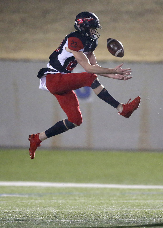 Photo - Plainview's Blake Nowell intercepts a pass during the high school football semifinal playoff game between Verdigris and Plainview at Noble High School in Noble, Okla., Friday, Nov. 29, 2019. [Sarah Phipps/The Oklahoman]