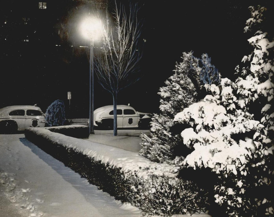 Photo - Jan. 2, 1947: Oklahoma City woke to find a winter wonderland as the first snow of any depth fell overnight. [Photo by C.J. Kaho, The Oklahoman Archives]