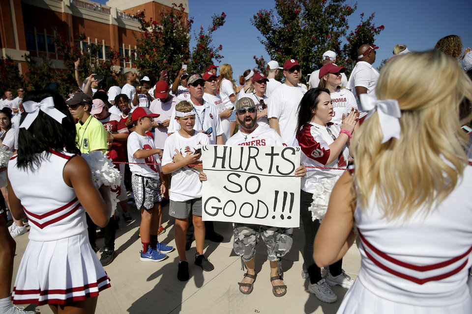 Photo - Oklahoma fans wait for the team to arrive before a college football game between the University of Oklahoma Sooners (OU) and the Houston Cougars at Gaylord Family-Oklahoma Memorial Stadium in Norman, Okla., Sunday, Sept. 1, 2019. [Bryan Terry/The Oklahoman]