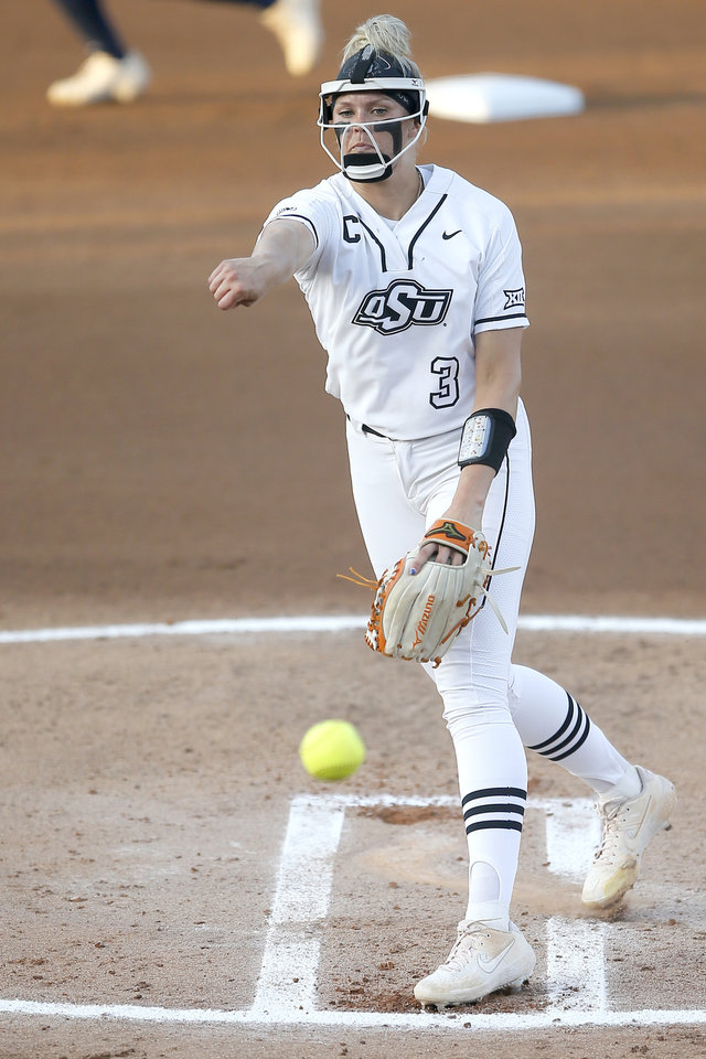 Photo - Oklahoma State's Samantha Show (3) pitches during the Stillwater Regional NCAA softball tournament game between Oklahoma State (OSU) and BYU in Stillwater, Okla., Thursday, May 16, 2019. [Bryan Terry/The Oklahoman]