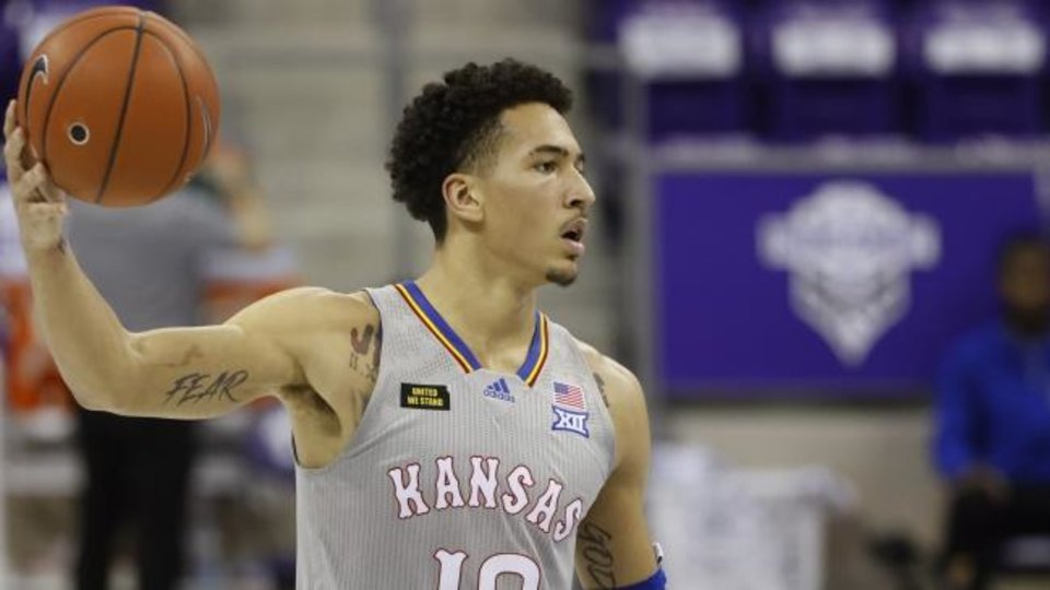 Photo -  Kansas forward Jalen Wilson looks pass against TCU on Tuesday. [AP Photo/Ron Jenkins]