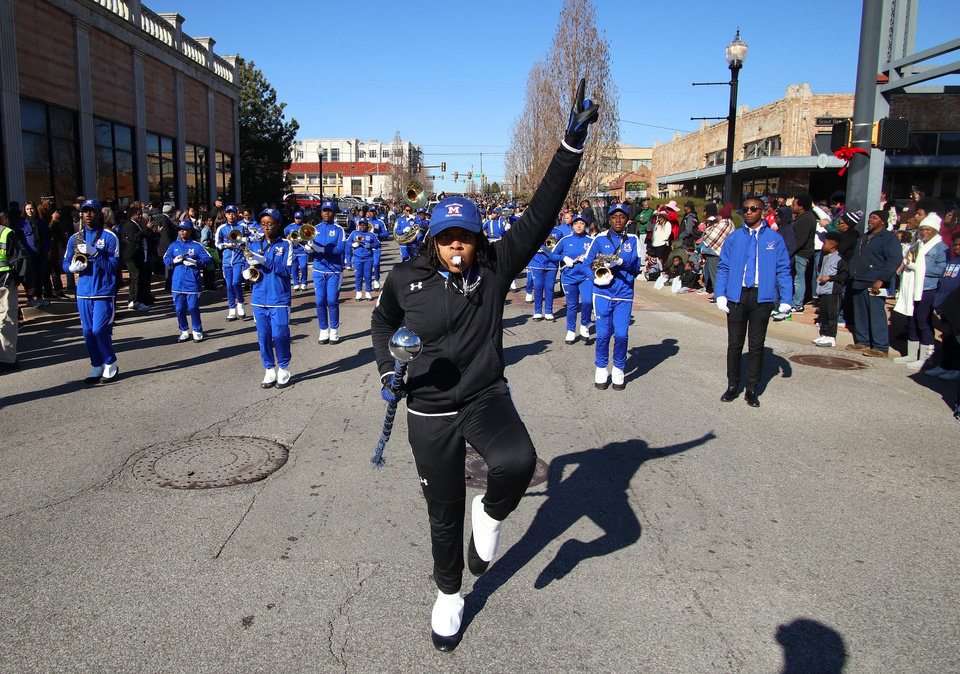 Photo - Millwood High School Marching Band at the MLK Day Parade during celebration of Dr. Martin Luther King, Jr. holiday, Monday, January 20, 2019. [Photo by Doug Hoke/The Oklahoman]