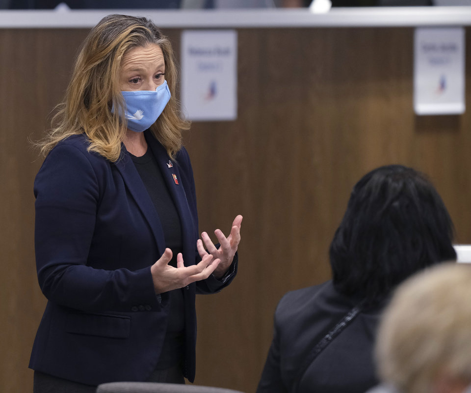 Photo - Paula Lewis at the first live Oklahoma City School Board meeting in the new Clara Luper Center for Educational Services, Monday, November 9, 2020. [Doug Hoke/The Oklahoman]