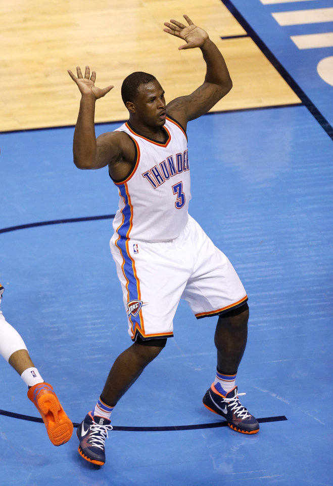Photo - Oklahoma City's Dion Waiters (3) celebrates a dunk during Game 3 of the Western Conference finals in the NBA playoffs between the Oklahoma City Thunder and the Golden State Warriors at Chesapeake Energy Arena in Oklahoma City, Sunday, May 22, 2016. Photo by Sarah Phipps, The Oklahoman