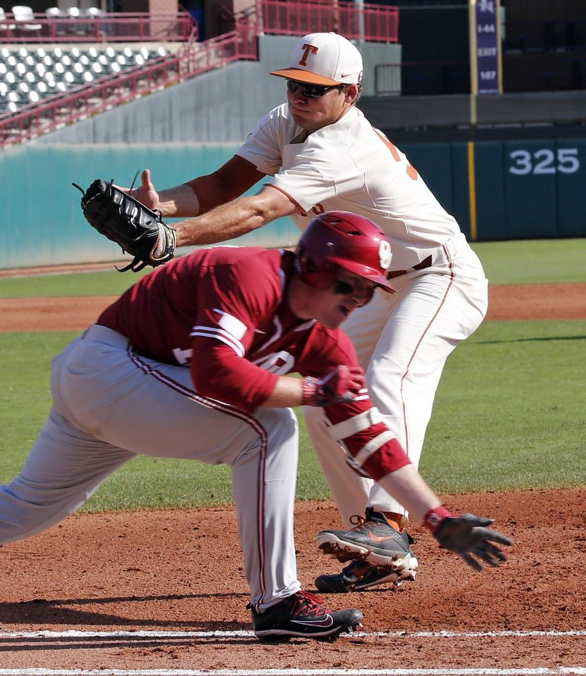 Oklahoma infielder Brylie Ware tries to avoid the tag by first baseman Jake  McKenzie as the University of Oklahoma Sooner (OU) baseball team plays the  ... af23c7a59