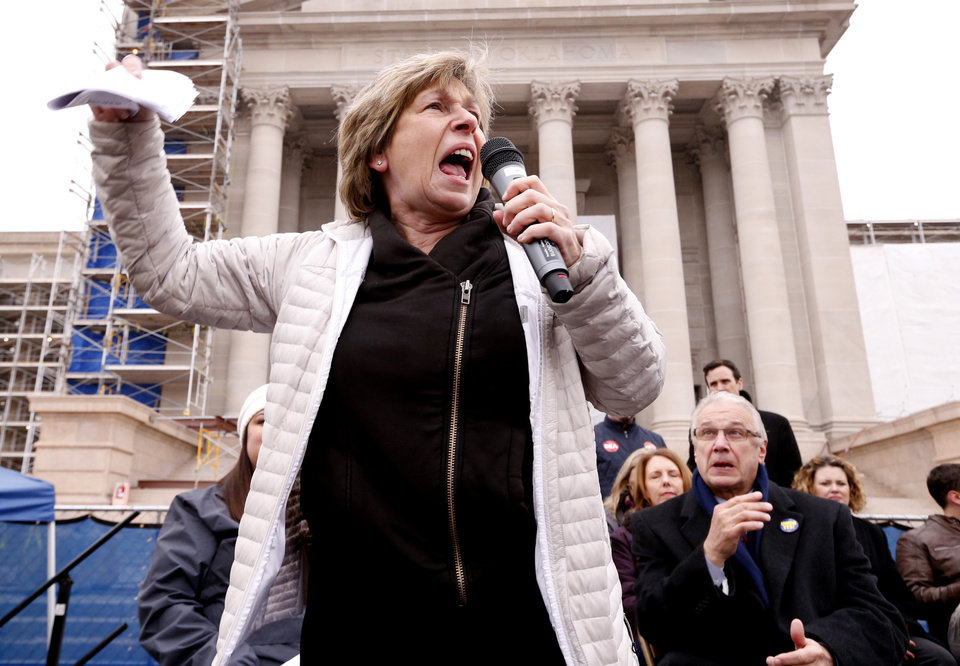 Photo - Randi Weingarten, president of the American Federation of Teachers, speaks as  Oklahoma teachers hold a rally at the State Capitol on Monday, April 2, 2018 in Oklahoma City, Okla.  Photo by Steve Sisney, The Oklahoman