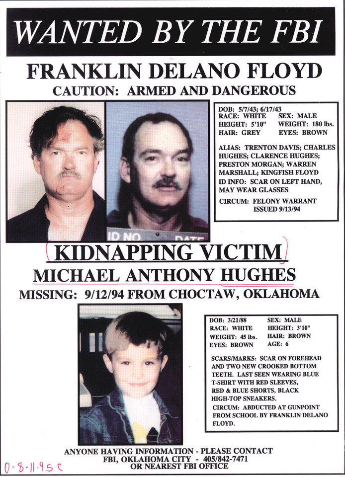 Photo -  Circular of Franklin Delano Floyd distributed in 1994 when he was wanted by the FBI for kidnapping Michael Anthony Hughes