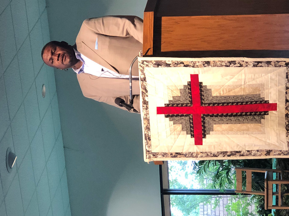 Photo -  The Rev. Dwayne Rodgers, senior minister of Wildewood Christian Church (Disciples of Christ), preaches a sermon on Sept. 30 at Western Oaks Christian Church (Disciples of Christ), 8100 NW 23. [Photo by Ye'Maya Rodgers]